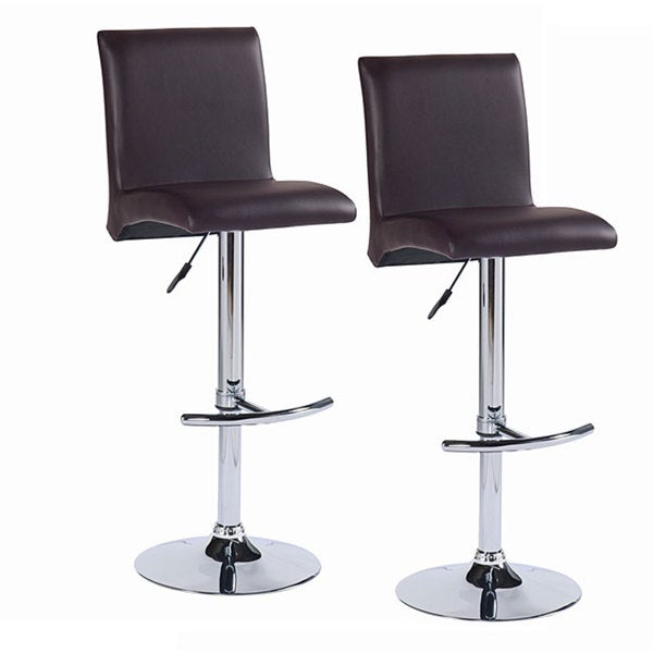 Gullwing Deep Brown Faux Leather Swivel Stools (Set of 2)