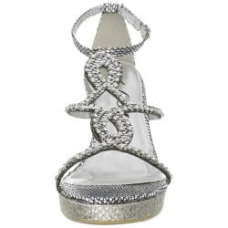 Celeste Women's 'Marisa-03' Silver Jeweled Wedge Sandals