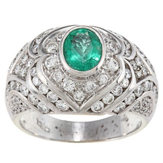 18k Gold Emerald and 2ct TDW Diamond Art Deco Estate Ring (H-I, SI1-SI2)