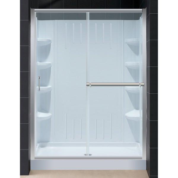 Infinity Plus Amazon 34x60-inch Shower Base QWALL-3 Backwall Shower Door