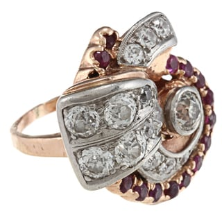 14k Pink Gold Ruby and 3ct TDW Diamond Deco Ring (L-M, SI1-SI2)