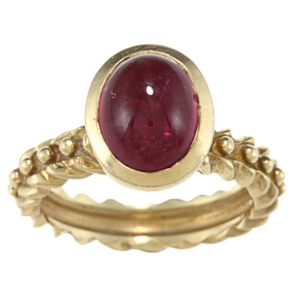 18k Yellow Gold Pink Tourmaline Cabochon Estate Ring