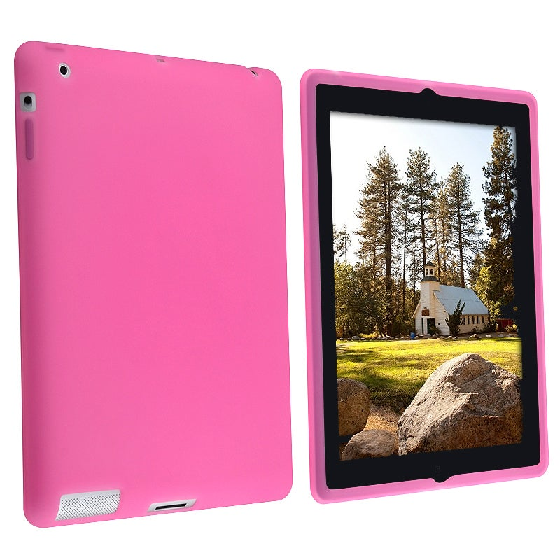 INSTEN Hot Pink Soft Silicone Skin Tablet Case Cover for Apple iPad 2