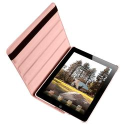 BasAcc Pink 360-degree Swivel Leather Case for Apple iPad 2