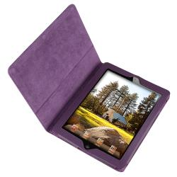 BasAcc Purple Leather Case with Stand for Apple iPad 2