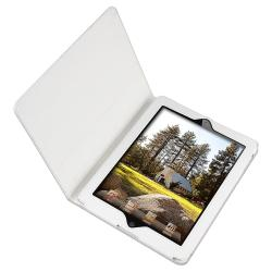 BasAcc White Leather Case with Stand for Apple iPad 2