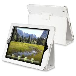 INSTEN White Leather Tablet Case Cover with Stand for Apple iPad 2