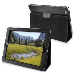 BasAcc Black Leather Case with Stand for Apple iPad 2
