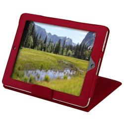 BasAcc Red Leather Case with Stand for Apple iPad 1