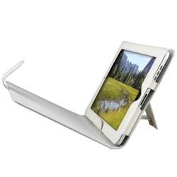 INSTEN White Leather Tablet Case Cover with Stand for Apple iPad 1