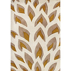Hand-tufted Flame Inspiration Light Beige Wool Rug (4' x 6')