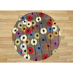 Hand-tufted Metro Circles Grey Wool Rug (6' Round)