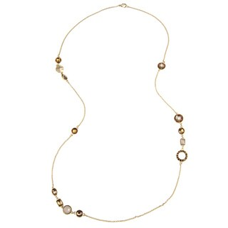 Goldtone Necklace with Geometric Shaped Crystals (36 inches)