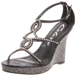 Celeste Women's 'Marisa-03' Black Jeweled Wedge Sandals