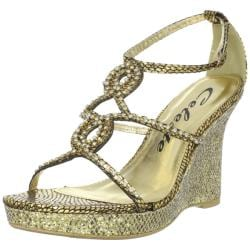 Celeste Women's 'Marisa-03' Gold Jeweled Wedge Sandals