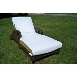 Grand Chaise Lounge with Ring-spun White Turkish-cotton Towel Cover
