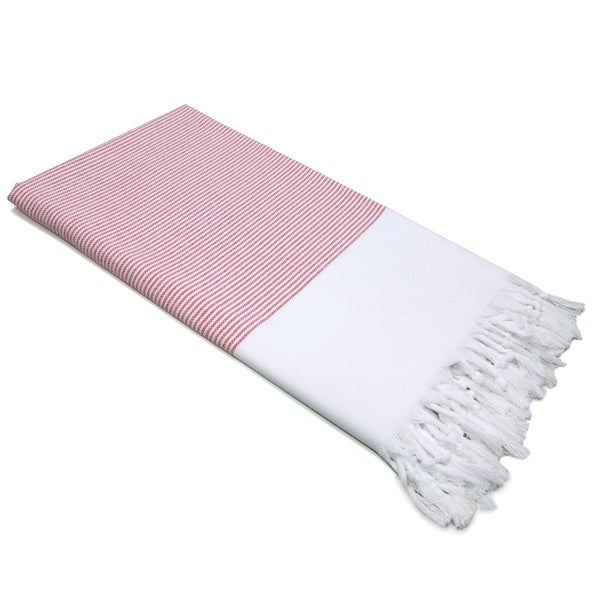 Authentic Pestemal Fouta Red and White Pencil Stripe Turkish Cotton Bath/ Beach Towel