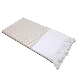 Authentic Pestemal Fouta Tan and White Pencil Stripe Turkish Cotton Bath/ Beach Towel
