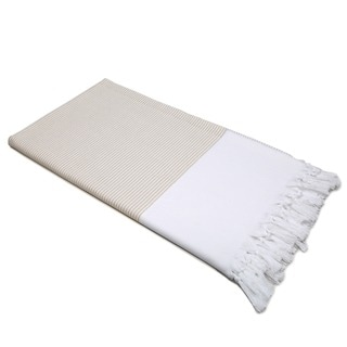 Authentic Pestemal Fouta Tan and White Pencil Stripe Turkish Cotton Bath/ Beach Towel