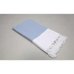 Authentic Pestemal Fouta Blue and White Pencil Stripe Turkish Cotton Bath and Beach Towel