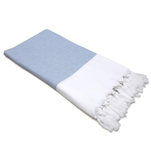 Authentic Pestemal Fouta Blue and White Pencil Stripe Turkish Cotton Bath/ Beach Towel