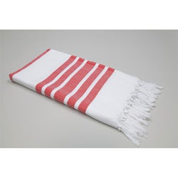 Authentic Fouta Red Bold Stripe Turkish Cotton Towel