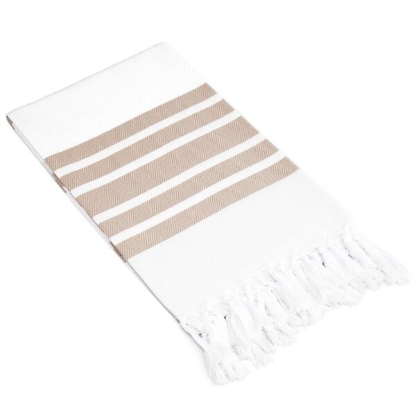 Authentic Pestemal Fouta Striped Tan and White Turkish Cotton Bath/ Beach Towel