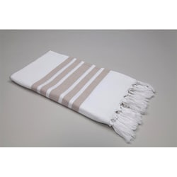 Authentic Pestemal Fouta Striped Tan and White Turkish Cotton Bath and Beach Towel