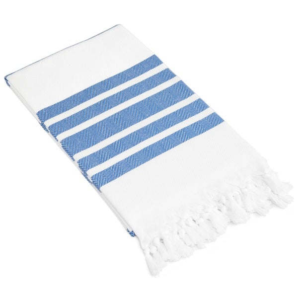 Authentic Pestemal Fouta Royal Blue And White Bold Stripe