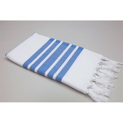 Authentic Pestemal Fouta Royal Blue and White Bold Stripe Turkish Cotton Bath/ Beach Towel