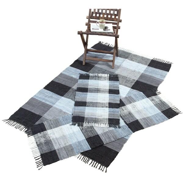 Check Chindi Cotton Black 3-Piece Accent Rug Set