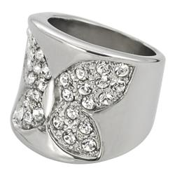 Journee Collection Stainless Steel Cubic Zirconia Butterfly Ring