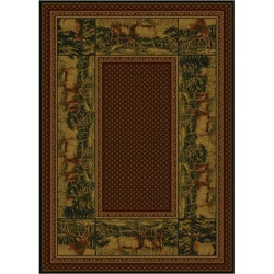 Rustic Lodge Country Elk Area Rug (5'3 x 7'6)