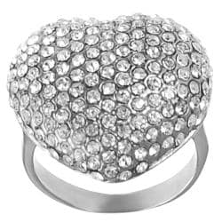 Journee Collection Stainless Steel Pave-set Cubic Zirconia Heart Ring