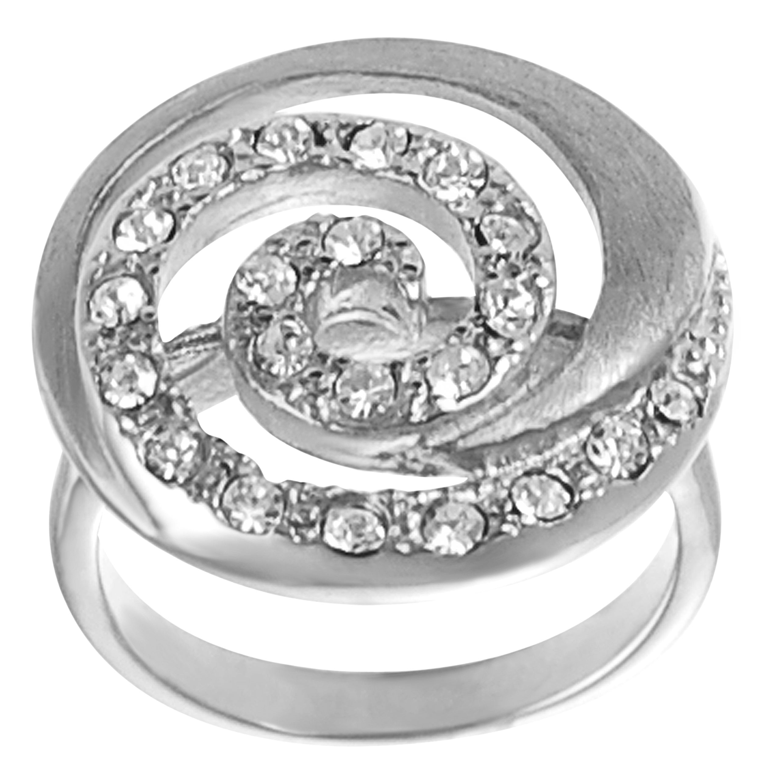 Journee Collection Steel Cubic Zirconia Brushed Spiral Ring