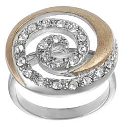 Journee Collection Coppertone Steel Cubic Zirconia Spiral Ring