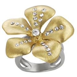 Journee Collection Goldtone Steel Cubic Zirconia Flower Ring