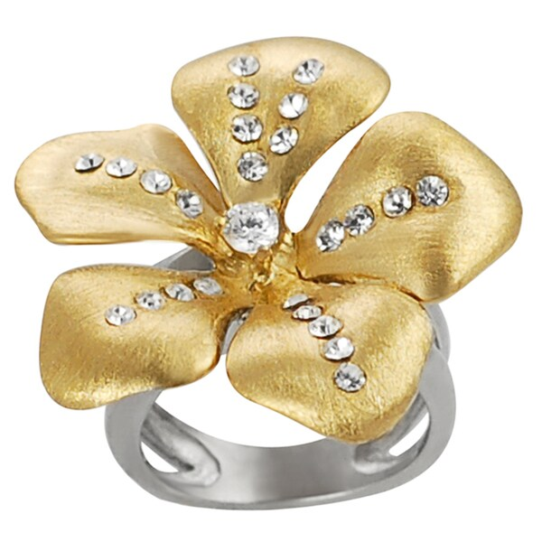Journee Collection Goldtone Steel Cubic Zirconia Flower Ring