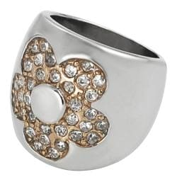Journee Collection Coppertone Steel Cubic Zirconia Flower Ring
