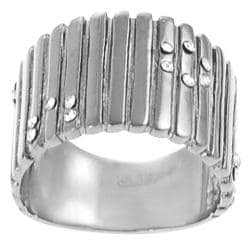 Journee Collection Stainless Steel Cubic Zirconia Lined Texture Ring