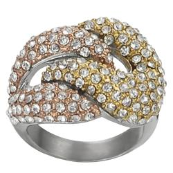 Journee Collection Two-tone Stainless Steel Cubic Zirconia Knot Ring