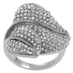 Journee Collection Stainless Steel Cubic Zirconia Nature Leaves Ring