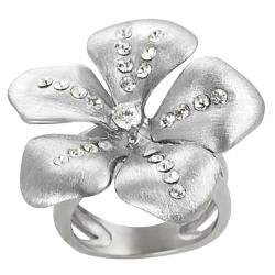 Journee Collection Stainless Steel Cubic Zirconia Flower Ring