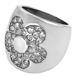 Journee Collection Stainless Steel Pave-set Cubic Zirconia Flower Ring