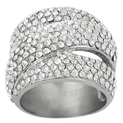 Journee Collection Stainless Steel Pave-set Cubic Zirconia Modern Ring