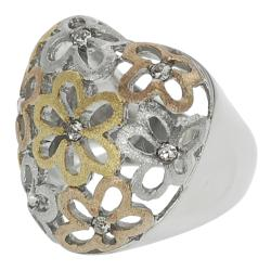 Journee Collection Stainless Steel Cubic Zirconia Flower Heart Ring