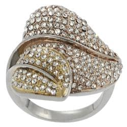 Journee Collection Coppertone Stainless Steel Cubic Zirconia Leaf Ring