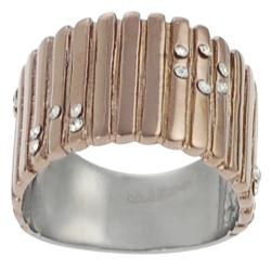 Journee Collection Coppertone Stainless Steel Cubic Zirconia Ring