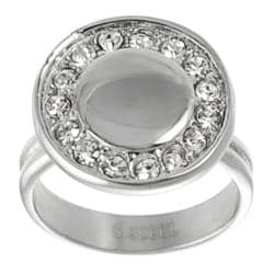 Journee Collection Stainless Steel Cubic Zirconia Disc Ring