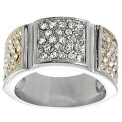 Journee Collection Tri-tone Stainless-steel White Cubic Zirconia Ring